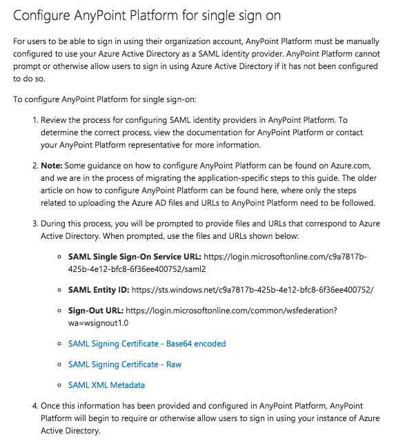 Configuring Anypoint Platform as an Azure AD Service Provider (SP)
