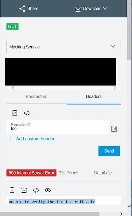 verify unable certificate error pce mocking exchange mulesoft