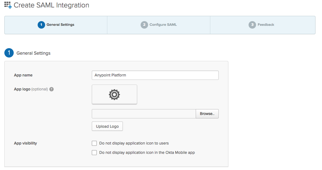 Configuring Anypoint Platform as an Okta SAML Service