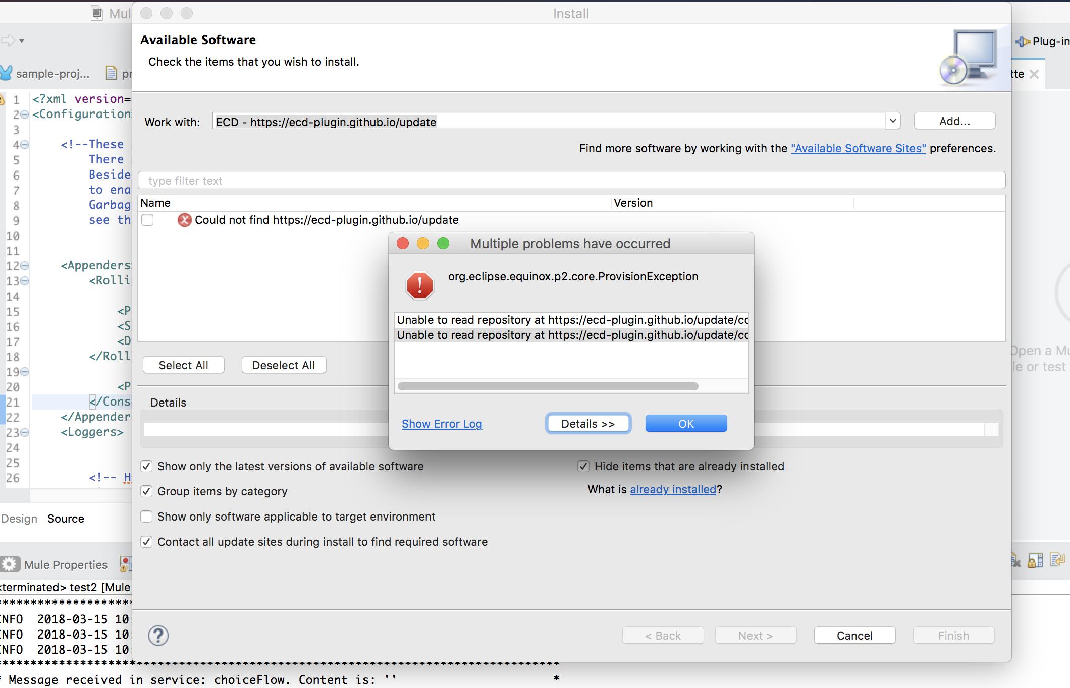 Unable to read repository error when adding Eclipse plugin
